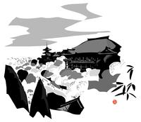 たくさんの木に囲まれているお寺と仏塔 02463001091| 写真素材・ストックフォト・画像・イラスト素材|アマナイメージズ