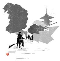 真っ直ぐ続いている道と自転車を押している人のシルエット