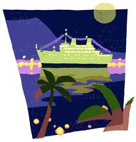 海に浮かぶクルーズ船とヤシ 02463001093| 写真素材・ストックフォト・画像・イラスト素材|アマナイメージズ
