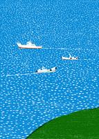 海を航海している三艘の船