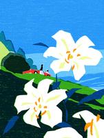 ユリの花と赤い車のカップル