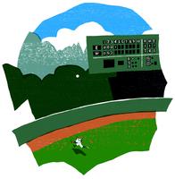 スタジアムと野球の選手