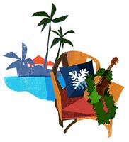 ヤシの木とウクレレと椅子