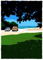 木陰からみた砂浜に止まっている車 02463001102| 写真素材・ストックフォト・画像・イラスト素材|アマナイメージズ