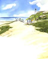砂浜に置いてある自転車