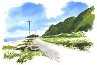 海沿いに停車している車