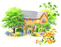 たくさんの木と草花に囲まれたグレーの屋根の家