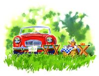 赤い車とピックニック用のテーブルや椅子