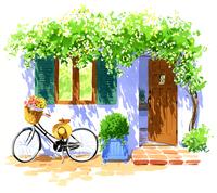 窓辺に置いてある、バスケットに花を積んでいる自転車