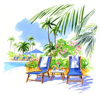 プールのそばにある草花とヤシの木とビーチチェア