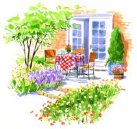 沢山の花が咲いた庭にある食事の準備ができているテーブル