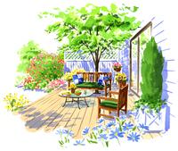 テラスに置かれたとベンチと椅子と庭の植物