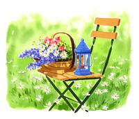 椅子の上に乗っているバスケットの中に入っている花とランプ