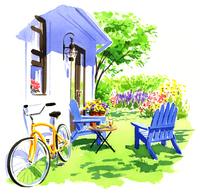 白い家の壁においてある黄色い自転車と青い椅子 02463001130| 写真素材・ストックフォト・画像・イラスト素材|アマナイメージズ