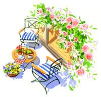 上から見た花で装飾されたポーチとテーブルと椅子