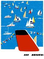 沢山のヨットや船が航海 02463001135| 写真素材・ストックフォト・画像・イラスト素材|アマナイメージズ