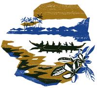 花とカヌーを漕ぐ人々