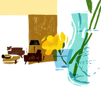 コップに活けた黄色い花とリビング