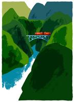 山間の陸橋を走る赤い電車
