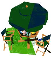 上から見たテーブルと椅子とパラソル