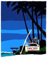 海辺に止まってある白い車とヤシの木