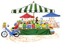 野菜やフルーツを売っている市場とバイク 02463001150| 写真素材・ストックフォト・画像・イラスト素材|アマナイメージズ