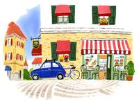 カフェの前に停めてあるブルーの車と自転車