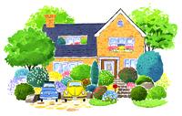 木とお花に囲まれたブルーの屋根の大きな家 02463001153| 写真素材・ストックフォト・画像・イラスト素材|アマナイメージズ