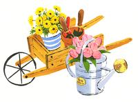 カートに乗っている鉢植えの花とピンクの花が入ったじょうろ