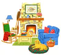 青いソファーと暖炉のあるリビングと犬