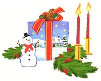 クリスマスキャンドルとプレゼントとスノーマン