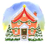 クリスマスデコレーションをされた家とクリスマスツリー