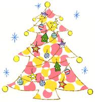 黄色とピンクの丸い模様が入ったクリスマスツリー