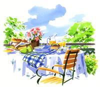 テラスにある食事の準備ができているテーブルと椅子