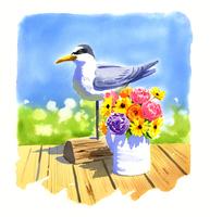 鳥の置物と色とりどりの花が入った花瓶 02463001168| 写真素材・ストックフォト・画像・イラスト素材|アマナイメージズ