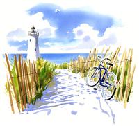 灯台と海へ向かっている砂の道