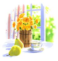 黄色い花が入った花瓶と西洋ナシとカップ