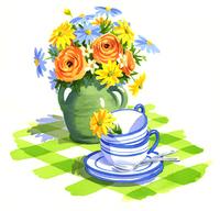 たくさんの花が入った花瓶とカップ
