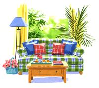 リビングのソファとテーブルと窓の外に見える庭