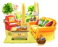 黄色のソファと赤い色のアームチェアとテーブル