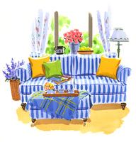 ストライプ柄のソファのあるリビング