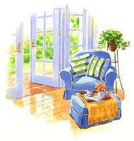 庭が見える開いたままのグラスドアと青色のアームチェア