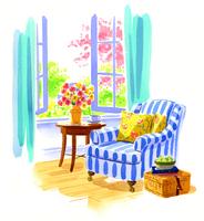 窓際のストライプ柄のアームチェアと花の花瓶とサイドテーブル