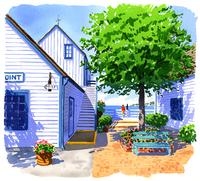 朝日が当たっている家 02463001186| 写真素材・ストックフォト・画像・イラスト素材|アマナイメージズ