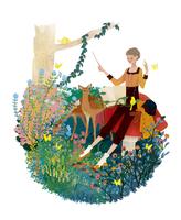森の中で指揮棒を振る女の子と動物