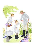 庭で花を摘む家族