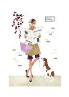 壁にもたれかかり新聞を読む犬の散歩中の女性
