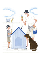 犬小屋のペンキを塗る男性と子供