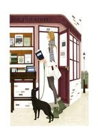 読書をしながら街で犬の散歩をする女性