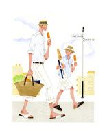 アイスクリームを食べながら歩く男性と子供